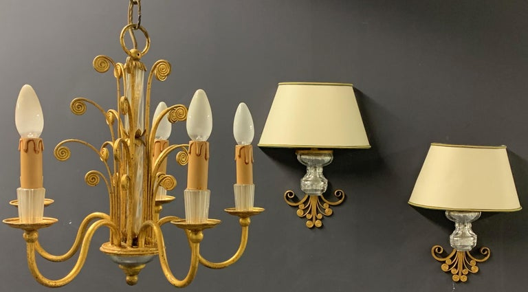 Amazing Maison Baguès Gilt and Crystal Glass Chandelier For Sale 2