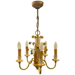 Amazing Maison Baguès Gilt and Crystal Glass Chandelier
