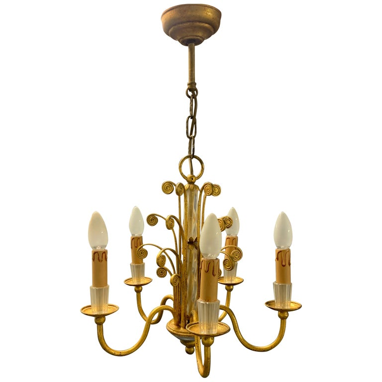 Amazing Maison Baguès Gilt and Crystal Glass Chandelier For Sale