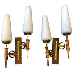 Amazing Mid-Century Modern Set of two Italian Wall Sconces, circa 1950