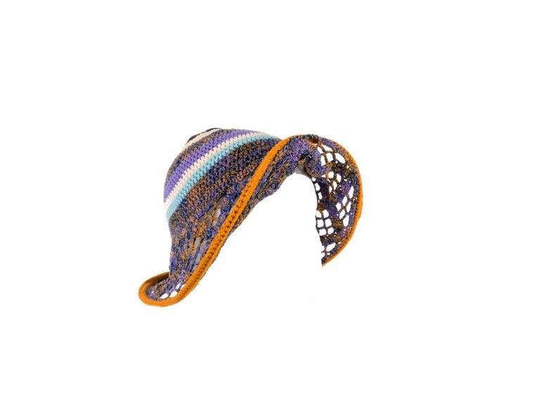 Brown Amazing Missoni Multicolor Wide Brim Crochet Knit Sun Hat For Sale
