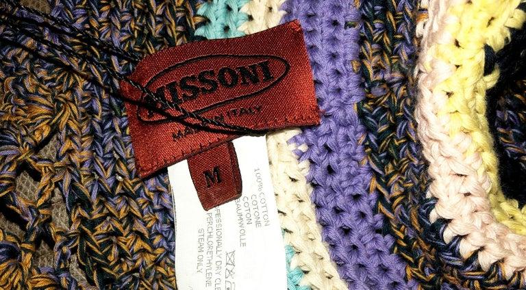 Women's Amazing Missoni Multicolor Wide Brim Crochet Knit Sun Hat For Sale