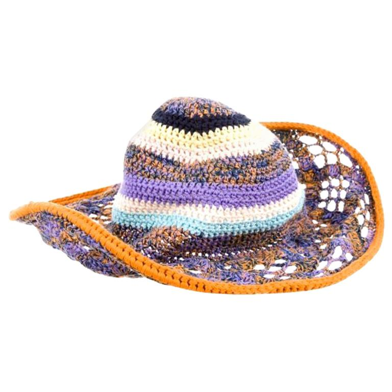 Amazing Missoni Multicolor Wide Brim Crochet Knit Sun Hat For Sale