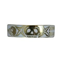Amazing Momento Mori 18 Carat Gold and White Enamel Skull Ring