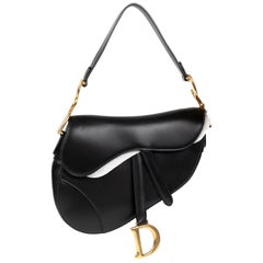 Amazing NEW Christian Dior Saddle bag in box black calfskin, golden hardware
