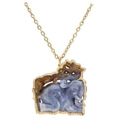 Amazing One of a Kind Carved Jade, Yellow Gold and Diamond Pendant/Necklace.