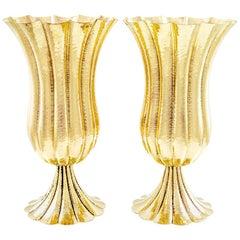 Amazing Pair Josef Hoffmann Vases Brass Wiener Werkstatte, circa 1920s