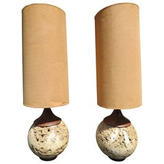 Amazing Pair Jumbo Faux Travertine Ceramic Orb Lamp Mid-Century Modern
