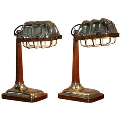 Amazing Pair of Brown Leather Nickle-Plated Chrome Table Lamps Adjustable Shades