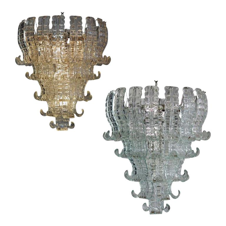 Amazing Pair of Italian Murano Six-Tier Felci Glass Chandeliers, 1970s