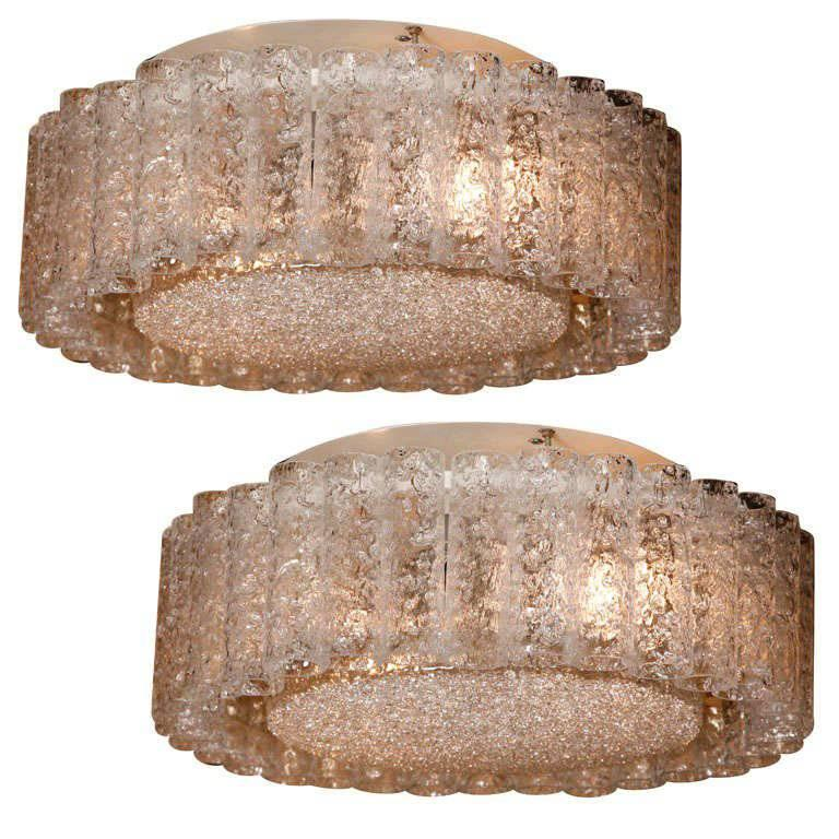 Amazing Pair of Large Doria Flush Mount Ceiling Lights with Crystal Glass Tubes For Sale
