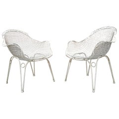 Amazing Pair of Midcentury Armchairs in Steel Painted White, 1950