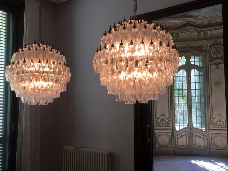 Amazing Pair of Spherical Murano Poliedri Chandeliers Carlo Scarpa Style, Murano 11