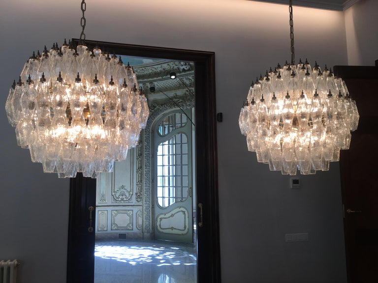 Amazing Pair of Spherical Murano Poliedri Chandeliers Carlo Scarpa Style, Murano 3