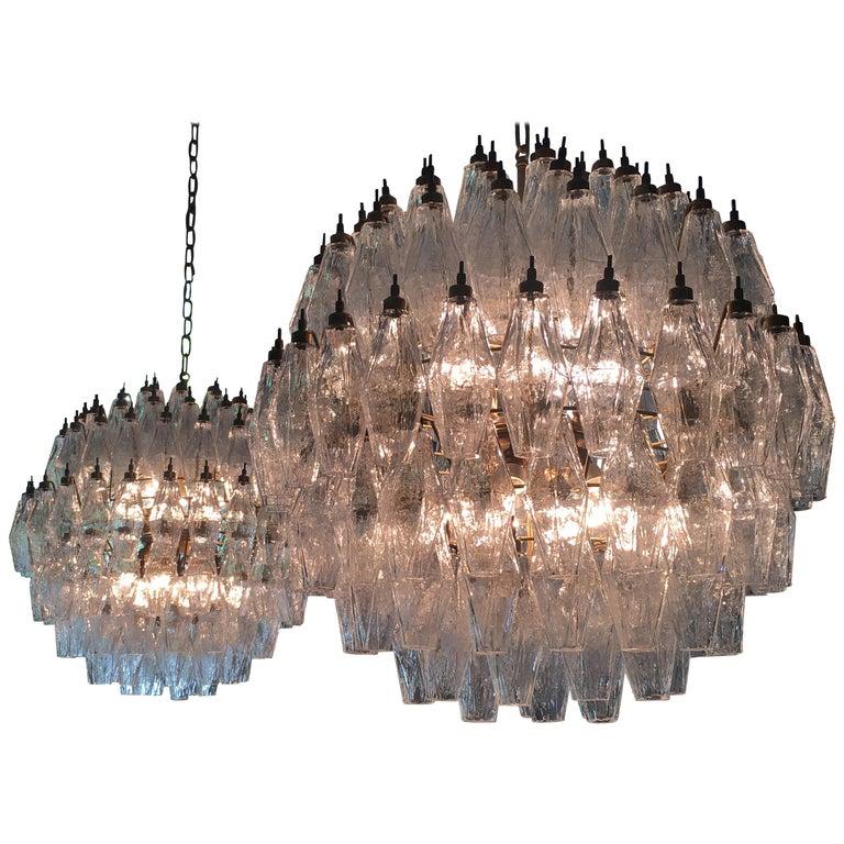 Amazing Pair of Spherical Murano Poliedri Chandeliers Carlo Scarpa Style, Murano