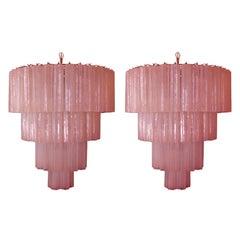 Amazing Pair Tronchi Chandeliers Style Toni Zuccheri for Venini, Murano