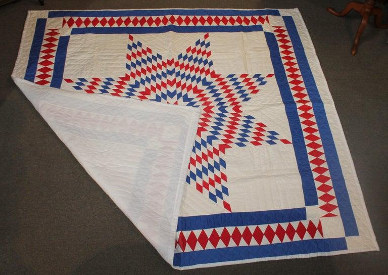 Folk Art Amazing Patriotic Star Quilt with Diamond Border
