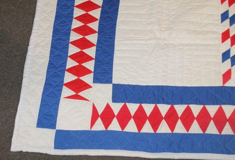 American Amazing Patriotic Star Quilt with Diamond Border