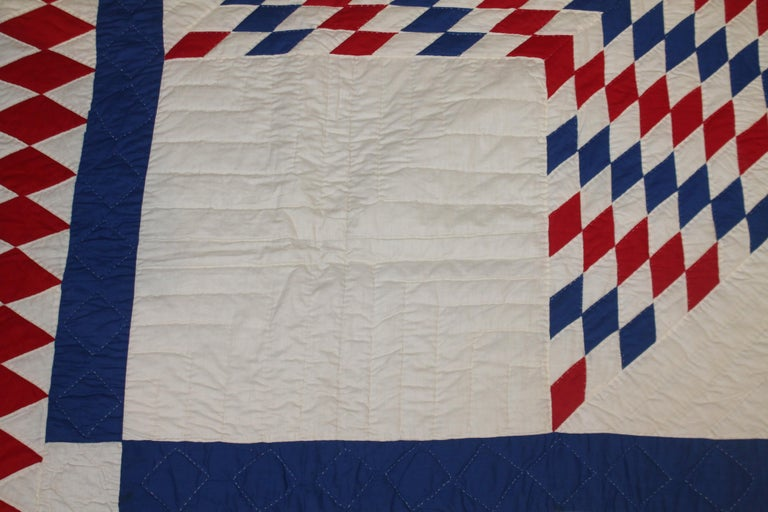 Hand-Crafted Amazing Patriotic Star Quilt with Diamond Border