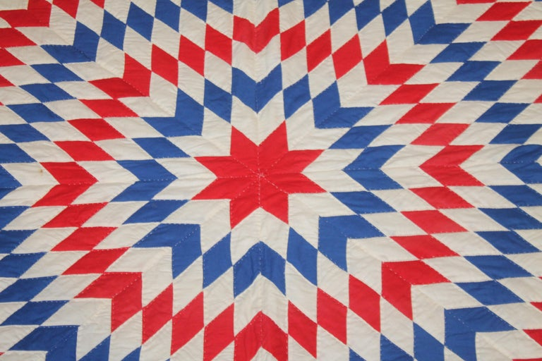 Amazing Patriotic Star Quilt with Diamond Border In Good Condition In Los Angeles, CA