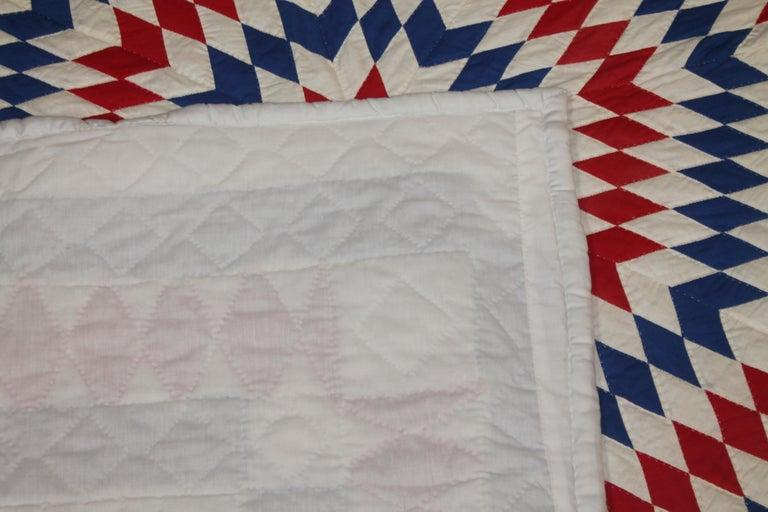20th Century Amazing Patriotic Star Quilt with Diamond Border