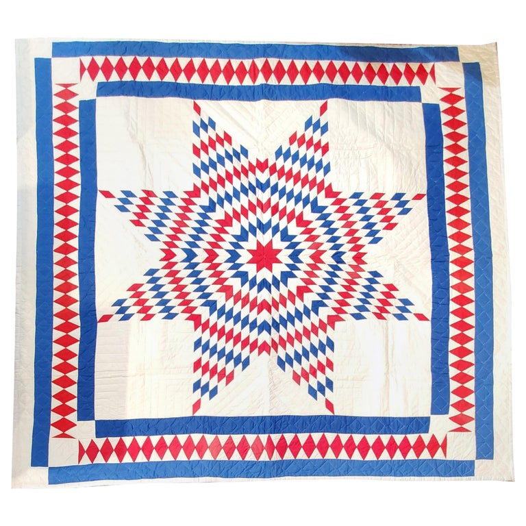 Amazing Patriotic Star Quilt with Diamond Border