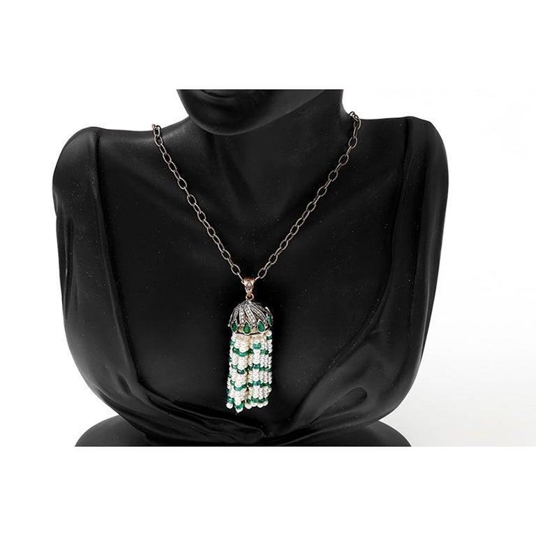 Amazing Pearl Emerald Diamond Silver Tassel Necklace In New Condition For Sale In Dallas, TX