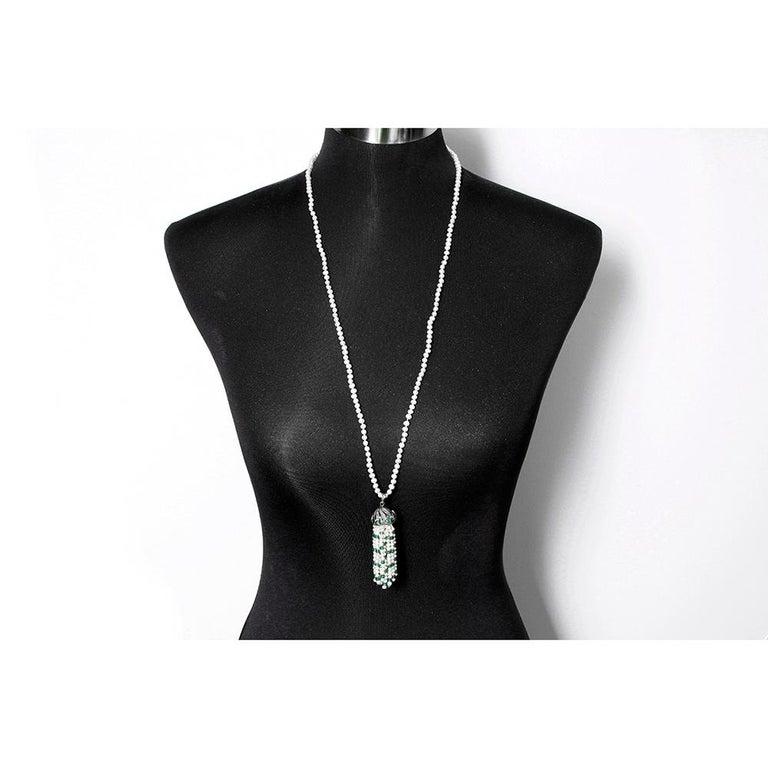 Women's Amazing Pearl Emerald Diamond Silver Tassel Necklace For Sale
