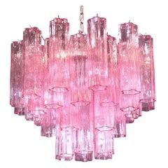Amazing Pink Tronchi Murano Glass Chandelier