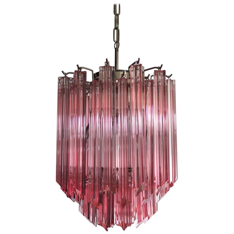 Amazing Quadriedri Glass Chandelier, Pink Prism, Murano