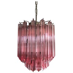 Amazing Quadriedri Glass Chandelier, Pink Prism, Murano