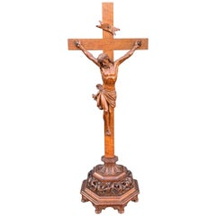 Amazing Quality Carved Antique Gothic Revival Altar Crucifix by Malfait, 1877