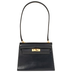 Amazing & Rare Hermès Mini Kelly 20cm in blue navy calfskin and gold hardware