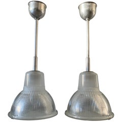 Amazing & Rare Mid-Century Modern Holophane Chrome & Glass Pendant Lights, Pair