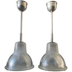 Amazing & Rare Pair Mid-Century Modern Holophane Chrome & Glass Pendant Lights