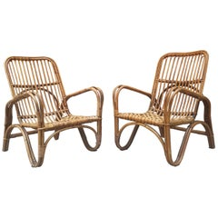 Amazing Rattan Armchairs with Armrests from 1960s