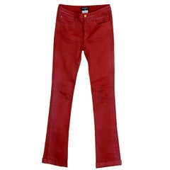 Amazing Red Chanel Stretch Denim Jeans Pants CC Logo Pockets