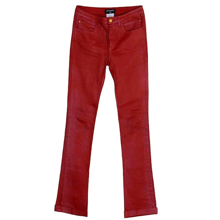 Amazing Red Chanel Stretch Denim Jeans Pants CC Logo Pockets