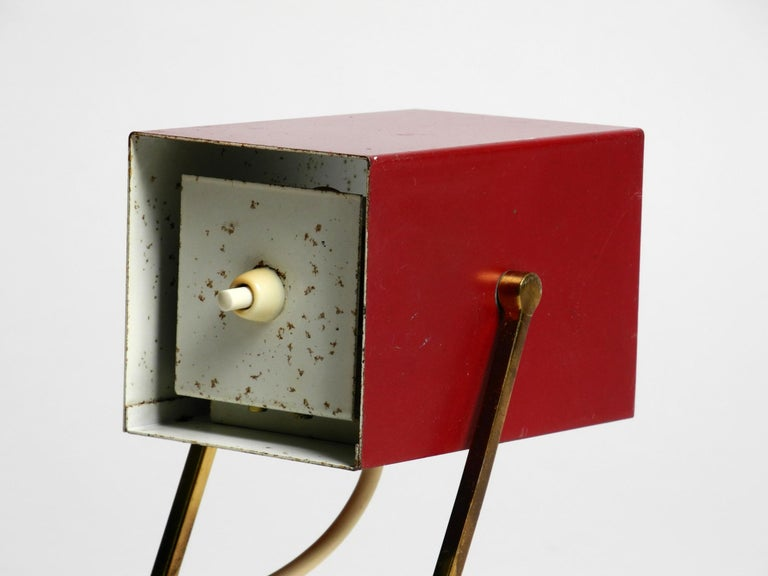 Amazing Red Kaiser Mid-Century Modern Metal Bedside Lamp with Brass Base For Sale 5