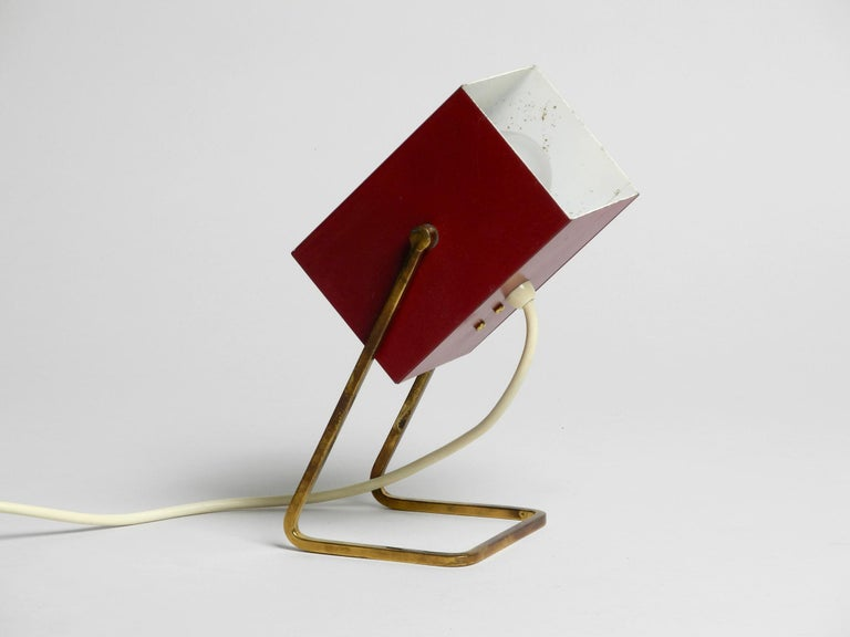 Mid-20th Century Amazing Red Kaiser Mid-Century Modern Metal Bedside Lamp with Brass Base For Sale