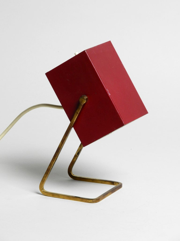 Amazing Red Kaiser Mid-Century Modern Metal Bedside Lamp with Brass Base For Sale 1