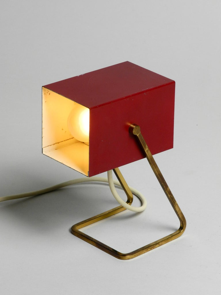 Amazing Red Kaiser Mid-Century Modern Metal Bedside Lamp with Brass Base For Sale 2