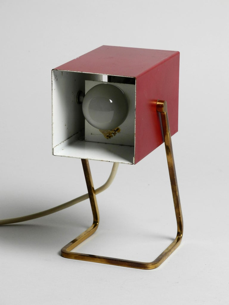 Amazing Red Kaiser Mid-Century Modern Metal Bedside Lamp with Brass Base For Sale 3
