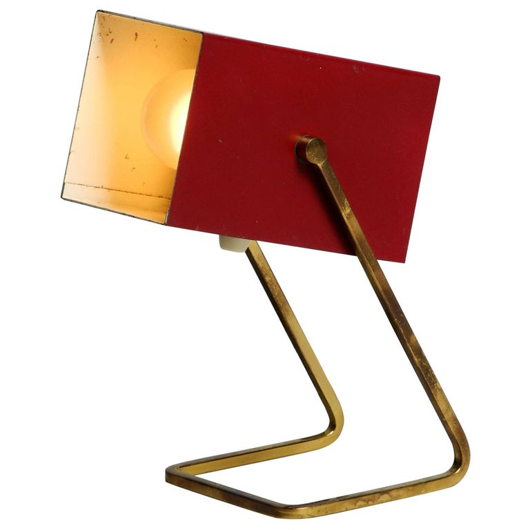 Amazing Red Kaiser Mid-Century Modern Metal Bedside Lamp with Brass Base For Sale
