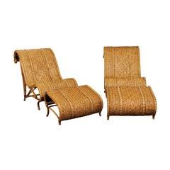 Amazing Restored Pair of Rattan and Raffia Slipper Sled Chairs, circa 1980
