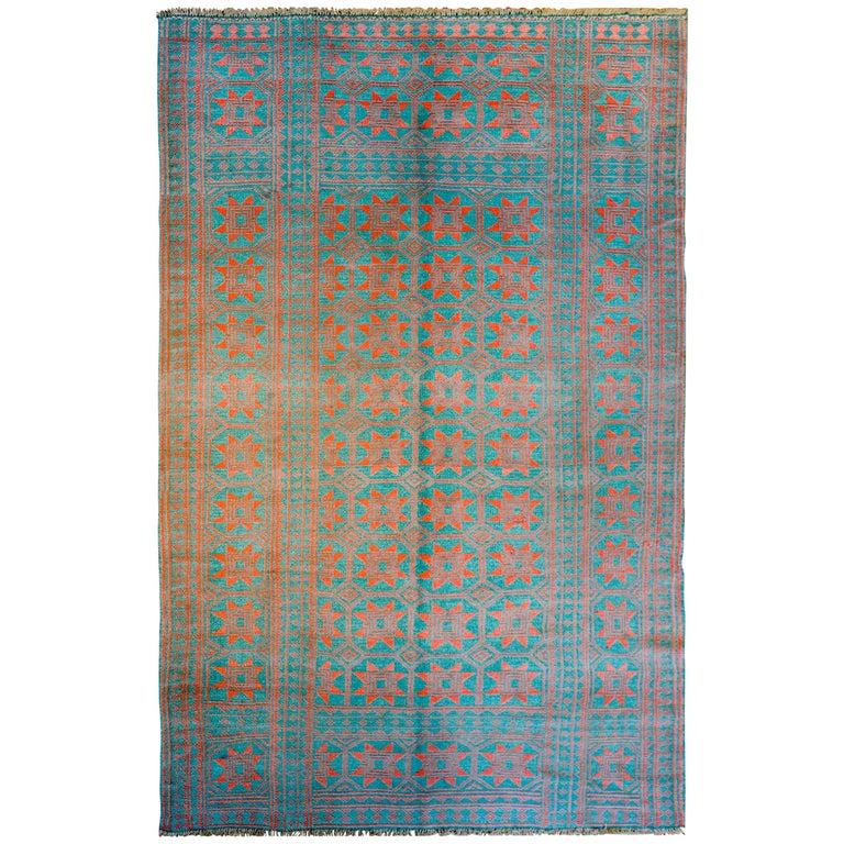 Breathtaking Large Geometric Red 10x12 Bakhtiari Persian: Amazing Reversible Early 20th Century Saveh Kilim Rug For