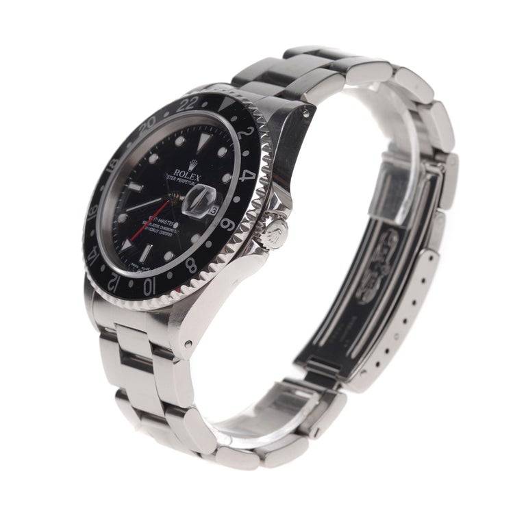 Modern Amazing Rolex GMT - Master II in steel circa 1996 in perfect condition For Sale