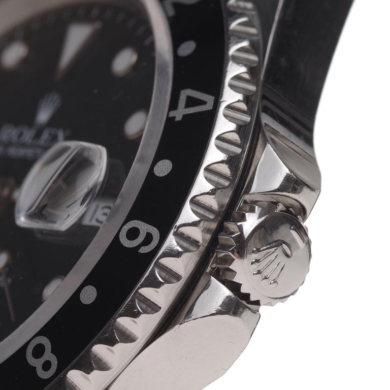 Amazing Rolex GMT - Master II in steel circa 1996 in perfect condition In Good Condition For Sale In Paris, Paris
