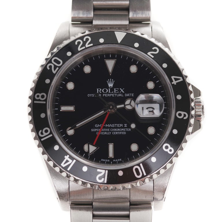 Amazing Rolex GMT - Master II in steel circa 1996 in perfect condition For Sale 1