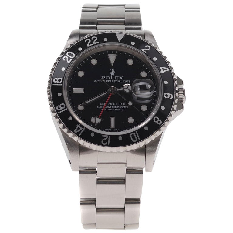 Amazing Rolex GMT - Master II in steel circa 1996 in perfect condition For Sale